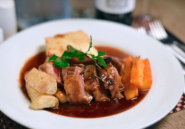 Lamb rump with dauphinoise potatoes