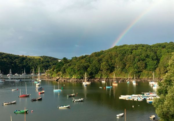 A rainbow over the estuary at Noss Mayo in Devon