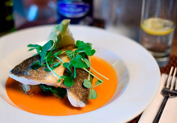 Delicious Seabass with lobster bisque and fennel